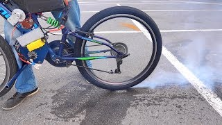 Bicycle with a motor of 15 kilowatts !!! - Will it accelerate to 100 ???
