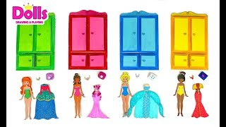 PAPER DOLLS PRINCESSES WARDROBE GLITTER DRESSES PAPERCRAFTS FOR GIRLS