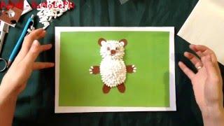 """Как сделать медведя из ватных палочек дома """"поделки своими руками"""" DeTKi - SaMoLePki TV"""