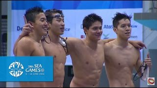 Download Video Swimming Men's 4x100m Freestyle Finals (Day 4) | 28th SEA Games Singapore 2015 MP3 3GP MP4