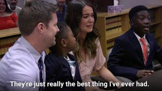 Thankful teenage boy gives sweet speech during adoption