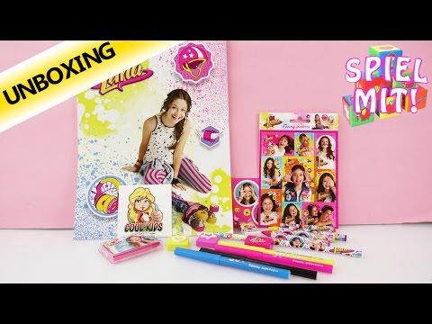 Soy Luna Disney | Schreibset mit 17 Teilen | Filzstifte Buntstifte Sticker Notizblock | Unboxing