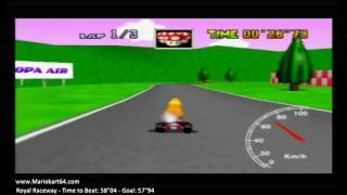 "Mario Kart 64 - Time Trials - Royal Raceway 57""94 King B [N64 PAL]"