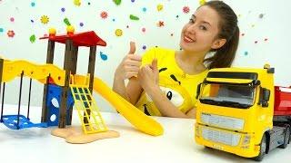 Видео для детей. NEW #ВЕСЕЛАЯШКОЛА Катя, Машины помощники и Вспыш строят детскую площадку.