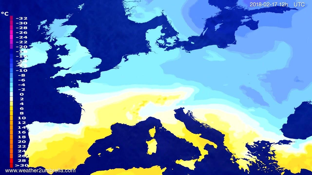 Temperature forecast Europe 2018-02-15