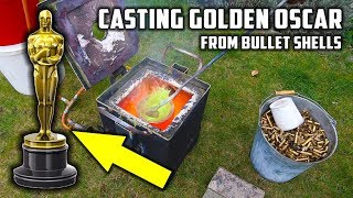 Casting 'Golden' Oscar Award Trophy in Brass from Empty Bullet Shells - Video Youtube