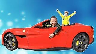 Ride on Ferrari Cabrio with Papa   Pretend Play with Cars #timkokid