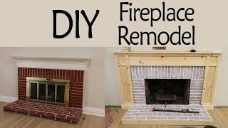 DIY Fireplace Remodel Pt 1: Whitewashing Brick & Custom Surround