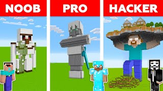 Minecraft Battle: NOOB Vs PRO Vs HACKER: STATUE HOUSE In MINECRAFT / Animation