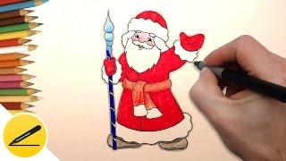 Как Нарисовать Деда Мороза на Новогоднюю Открытку   Рисуем Дедушку Мороза поэтапно