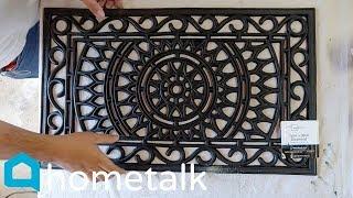 Garden Stepping Stones   Pour Concrete Over A $10 Walmart Doormat For This Garden Idea!   Hometalk