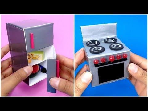 DIY Refrigerador, Estufa y fregadero en Miniatura | Como hacer cosas de Cocina en miniatura