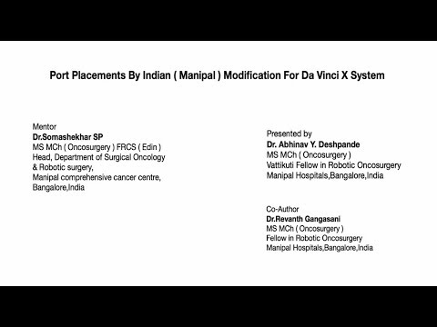 Port Placements by Indian (Manipal) Modification for da Vinci X Surgical System
