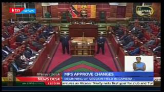 Jubilee MPs pass electoral law changes as CORD MPs walking out of parliament