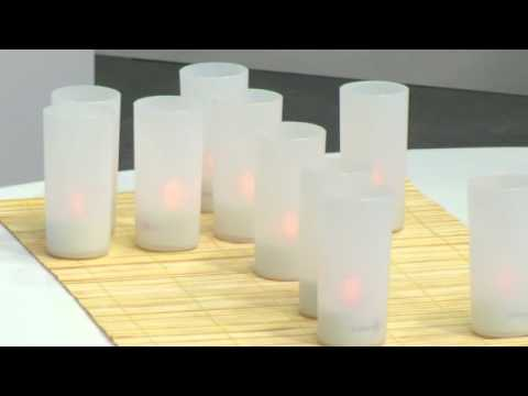 Lunartec 12 LED-Akku-Teelichte mit Acryl-Dekogläsern und Ladestation