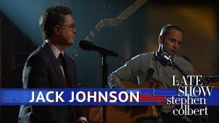 "Video thumbnail of ""Jack Johnson and Stephen Colbert Perform 'Sleep Through the Static'"""