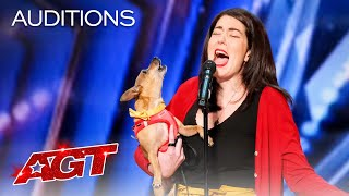 """Pam Performs """"All by Myself"""" with Her Incredible Singing Dog Casper - America's Got Talent 2021 thumbnail"""