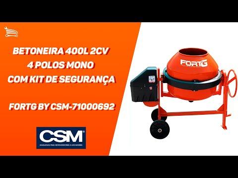 Betoneira 400L 2CV 4 Polos Mono com Kit de Segurança  - Video