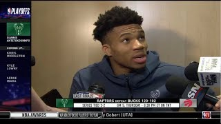 Giannis Atetokouonmpo (MIL) Postgame Interview| Raptors def. Bucks 120-102 | Game 4 NBA East Final