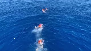 video: Spain sends warship to pick up migrants off Italy's coast as around a dozen try to swim to island of Lampedusa
