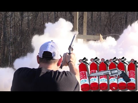 How many charged fire extinguishers will a 500 S&W Magnum go through?