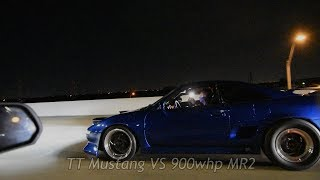 TWIN TURBO MUSTANG BATTLES K20 SWAP MR2, SUPERCHARGED C7, & MORE! REAL STREET RACING!