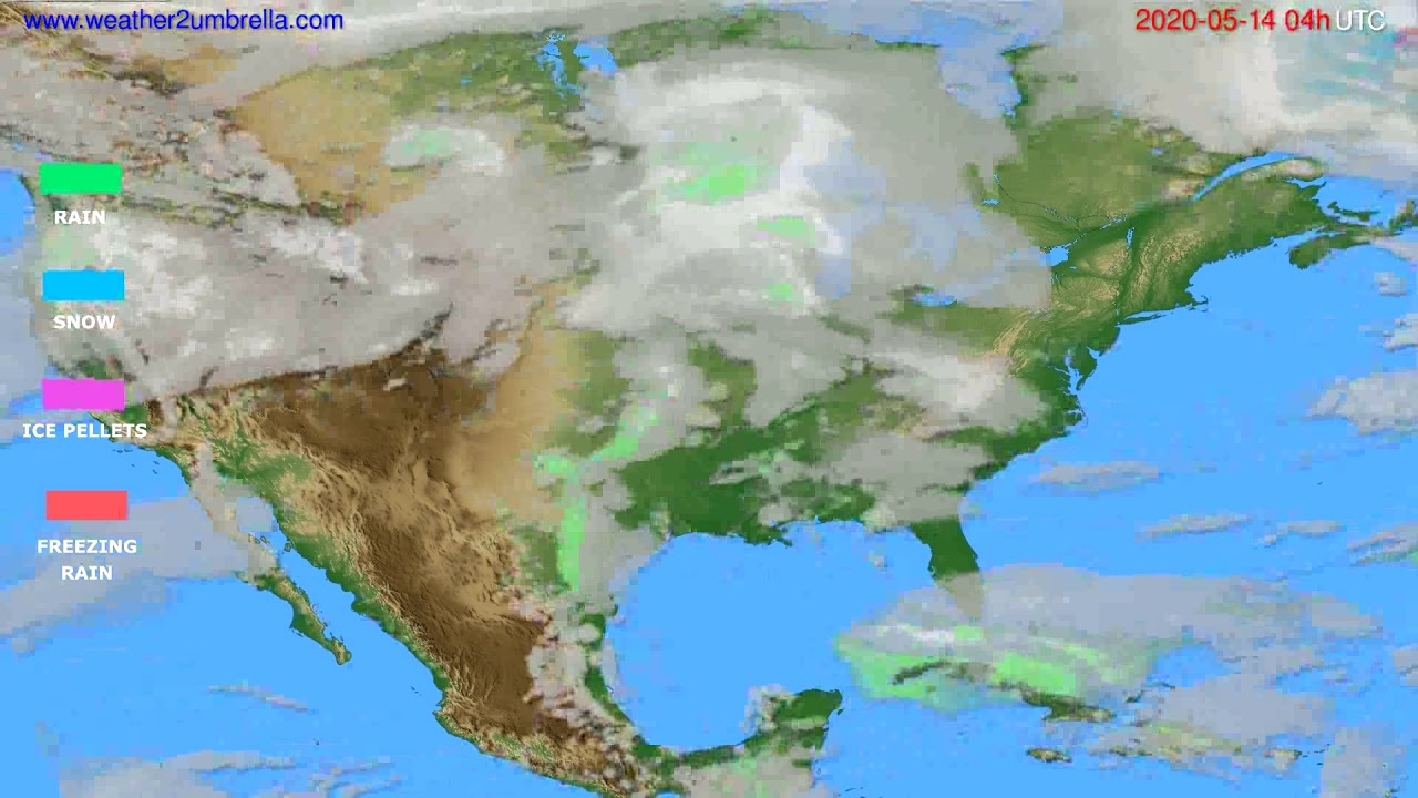 Precipitation forecast USA & Canada // modelrun: 12h UTC 2020-05-13