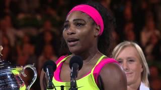 Serena Williams Winning Speech (Final)   Australian Open 2015