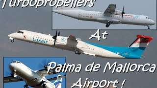preview picture of video 'Various Turbo propellers at Palma de Mallorca Airport [PMI-LEPA] !'