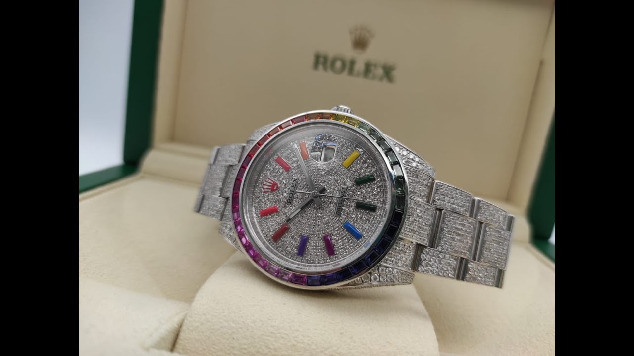 Rolex Datejust II Rainbow Full Pave Tuning 41 mm 126300 CUSTOM