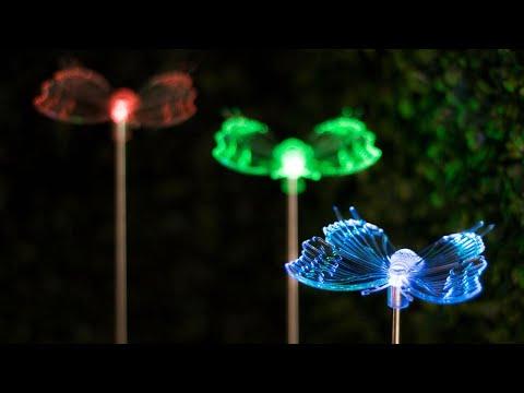 Lampa Solara LED Fluture, RGB Multicolor, Lumina in Culori Alternante
