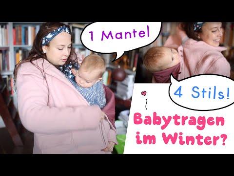 Babytragen im Winter mit dem Mamalila Kapuzen-Tragemantel aus Wollwalk