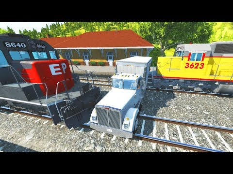BeamNG Drive Train Accidents #5 Between trains Edition