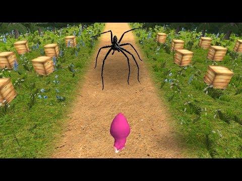 Смешная игра - Маша и Медведь про КОНФЕТНЫЙ парк развлечений с пауками Догонялки в лесу про Машу