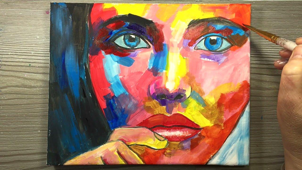 colorful portrait painting woman face by annac paints