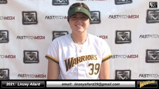 2021 Linzey Allard 3.8 GPA, Lefty Pitcher Softball Skills Video - West Bay Warriors