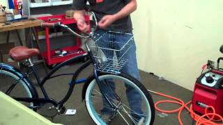 Installing a Front Mounted Wire Bicycle Basket on a Beach Cruiser Bike HD