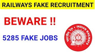Fake Vacancies in Railway 2020//5000+ Fake Jobs News Update//New Vacancy in Railway 2020