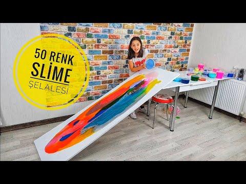 Slime Şelalesi 50 Farklı Renkle Slaym Şelalesi!
