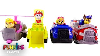Learning Colors Video for Kids: Paw Patrol Switch Vehicles! Boss Skye, Chase, Marshall Rubble