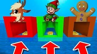 Minecraft PE : DO NOT CHOOSE THE WRONG BOAT! (Reindeer, Elf & Gingerbread Man)