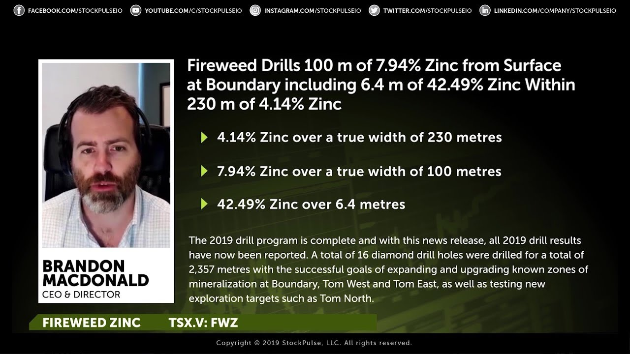 Fireweed Drills 100 m of 7.94% Zinc from Surface at Boundary