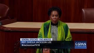 Rep. Shelia Jackson Lee reads Rep. John Conyers retirement statement (C-SPAN)