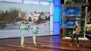 Watch as Ellen is wowed by twin brothers who have amazing hockey stick tricks, a woman who does spot-on animal impressions, a sword swallower, and a woman who can make a lot of items appear out of her clothing.  #TheEllenShow #HiddenTalents #Ellen