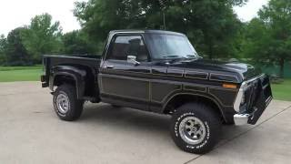 HD VIDEO 1976 FORD F100 SPORTSIDE BLACK 4WD MANUAL FOR SALE INFO WWW SUNSETMOTORS COM