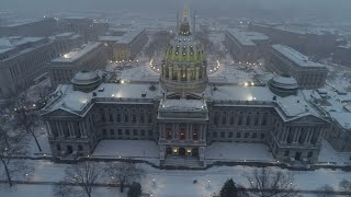 Flying my ???? DJI PHANTOM 4PRO DRONE ???? around Harrisburg Pa on this☃️❄️☃️ snowing Sunday afternoon