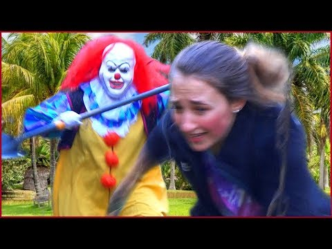 Scary Killer Clown Comes Out Of The Woods And Gets Tackled