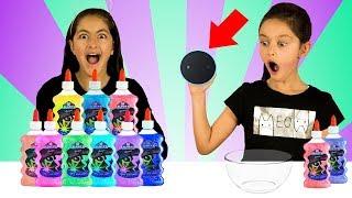 ALEXA Picks our Slime Ingredients!!  3 Color Slime  Sis vs Sis