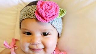 Crochet Glamas Stretchy Rose Headband