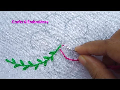 Hand Embroidery, Raised Chain Stitch flower, Easy flower embroidery